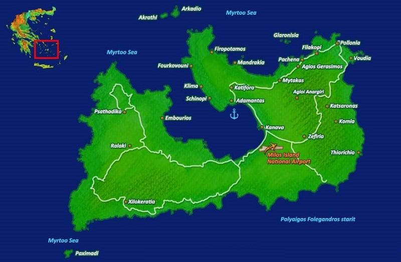 Onde Ficar em Milos: Mapa