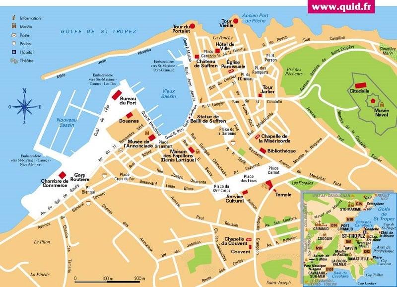 Onde Ficar em Saint Tropez: Mapa