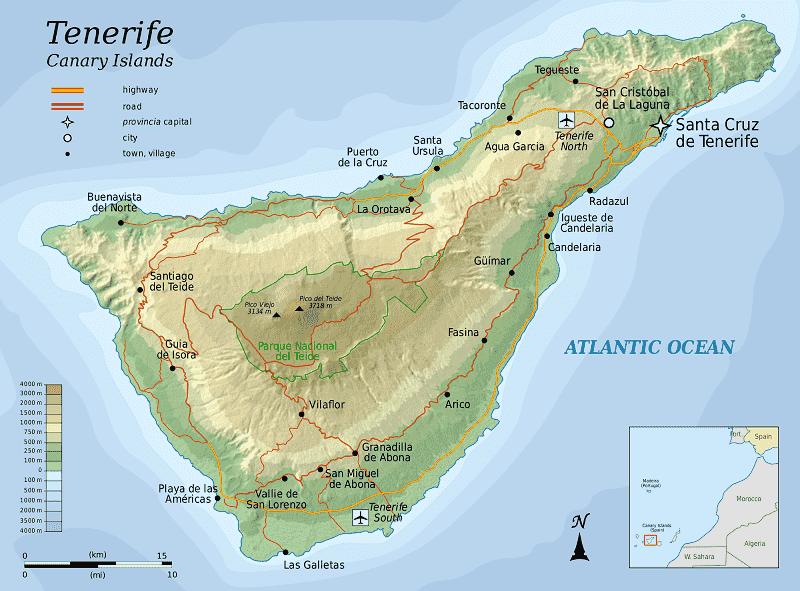 Onde Ficar em Tenerife: Mapa