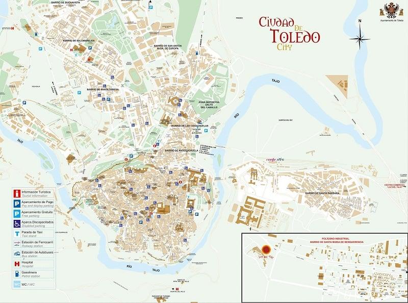 Onde Ficar em Toledo: Mapa