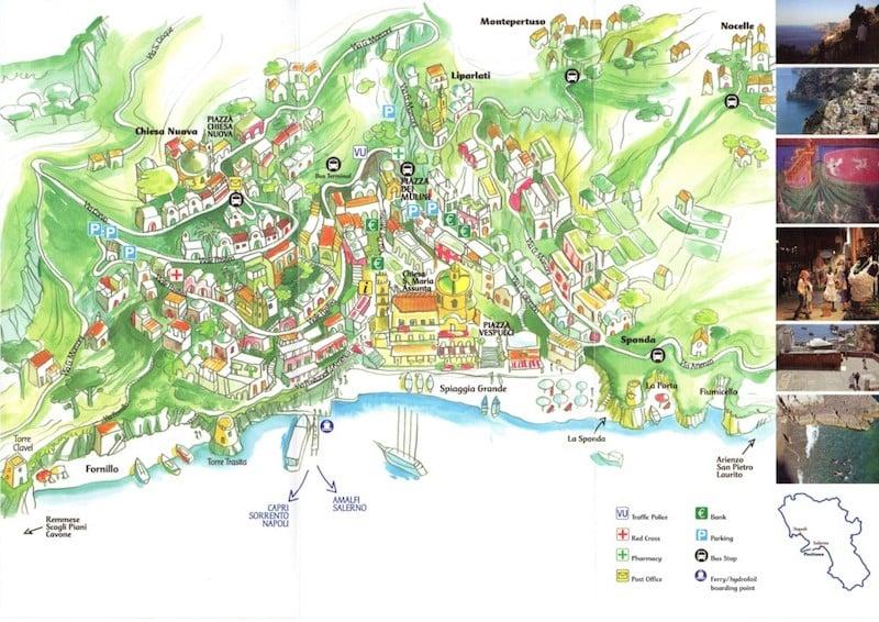Onde Ficar em Positano na Itália: Mapa