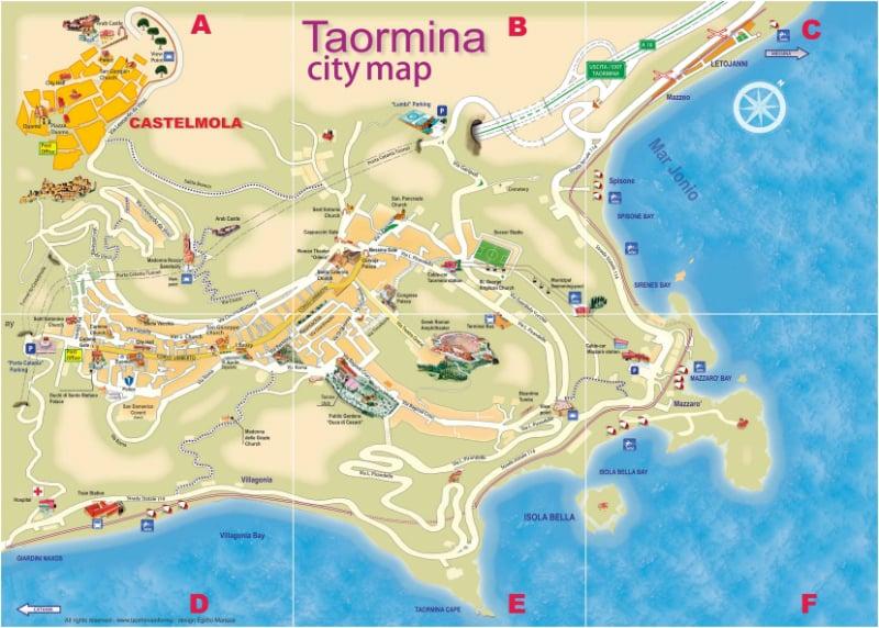 Onde Ficar em Taormina na Itália: Mapa