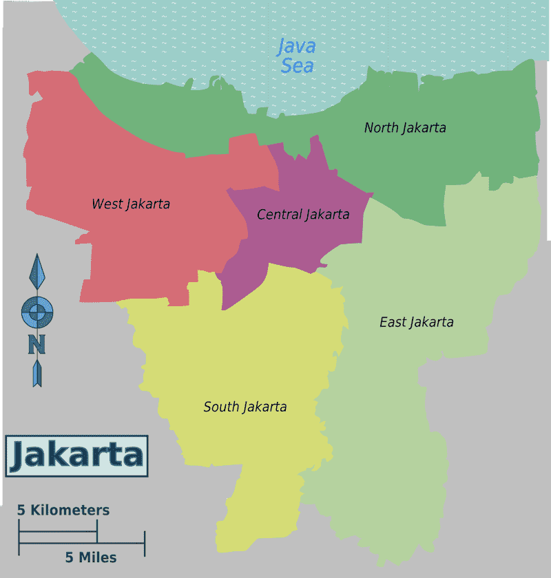 Onde Ficar em Jacarta na Indonésia: Mapa