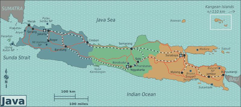 Onde Ficar em Java na Indonésia: Mapa