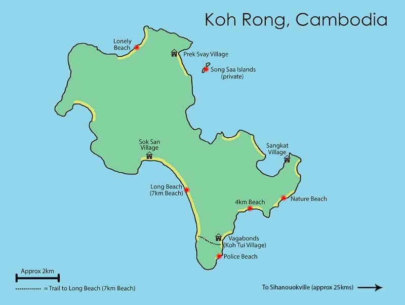 Onde Ficar em Koh Rong Island no Camboja: Mapa