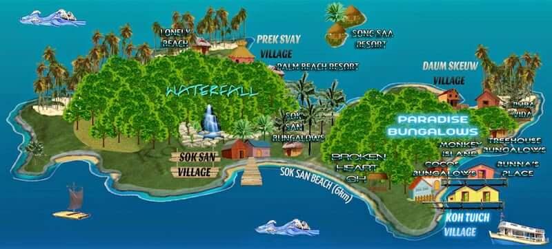 Onde Ficar em Koh Rong Samloem no Camboja: Mapa