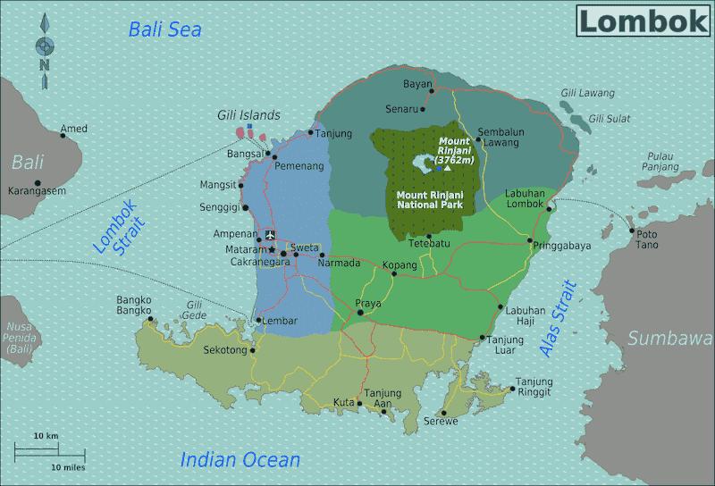 Onde Ficar em Lombok na Indonésia: Mapa