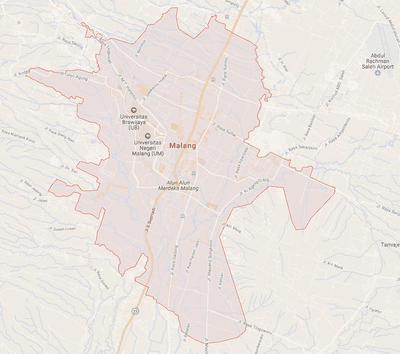 Onde Ficar em Malang na Indonésia: Mapa
