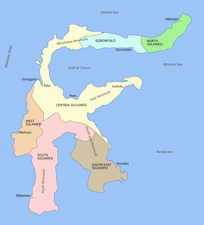 Onde Ficar em Sulawesi na Indonésia: Mapa