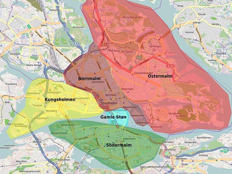 Onde Ficar em Estocolmo na Suécia: Mapa