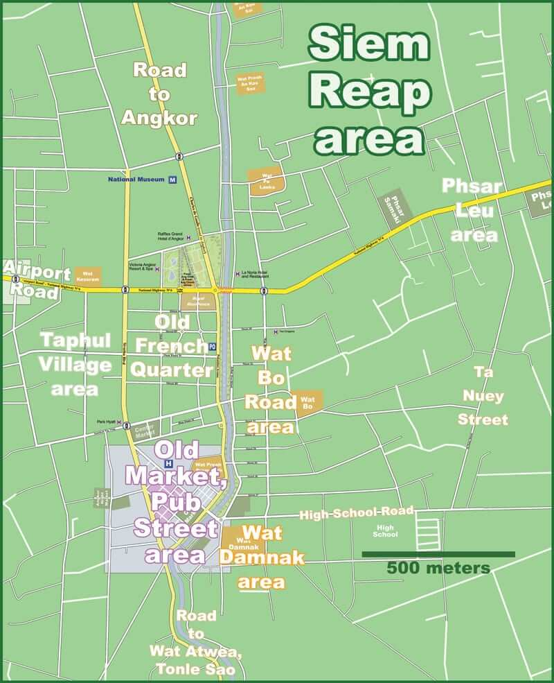Onde Ficar em Siem Reap na Camboja: Mapa