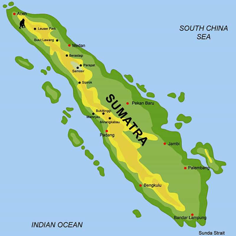 Onde Ficar em Sumatra na Indonésia: Mapa