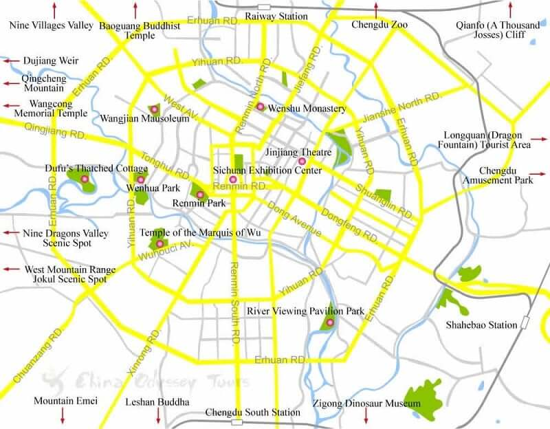 Onde Ficar em Chengdu: Mapa