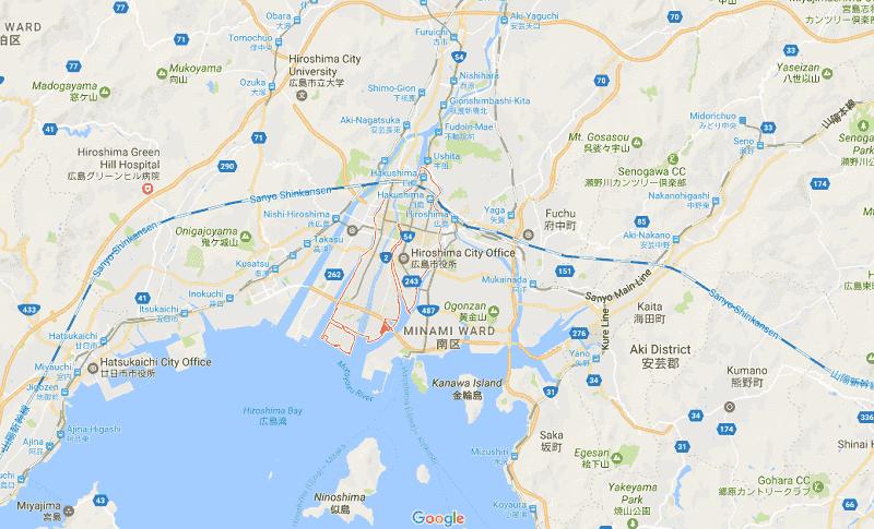 Onde Ficar em Hiroshima: Mapa