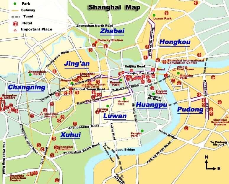 Onde Ficar em Shanghai: Mapa