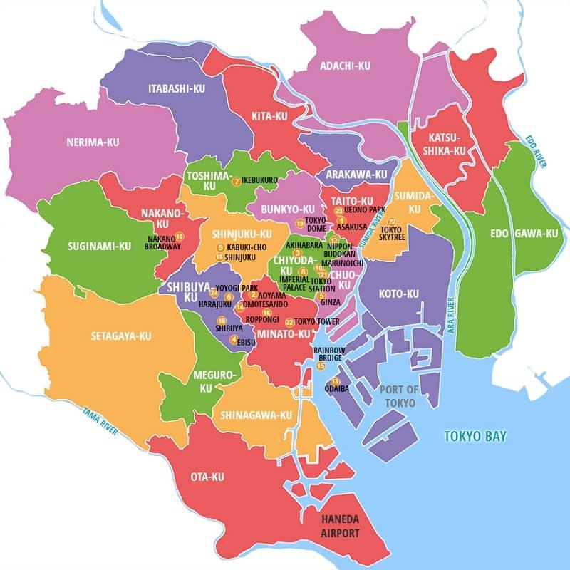 Onde Ficar em Tóquio: Mapa