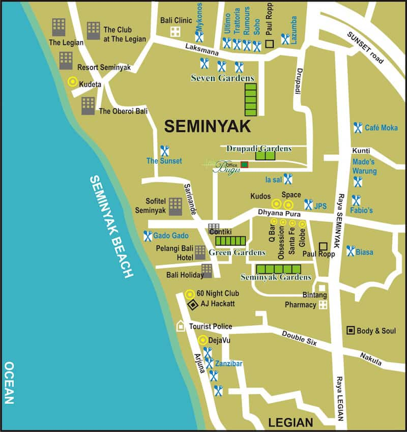 Onde Ficar em Seminyak na Indonésia: Mapa