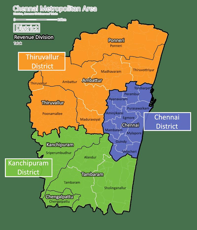 Onde Ficar em Chennai na Índia: Mapa