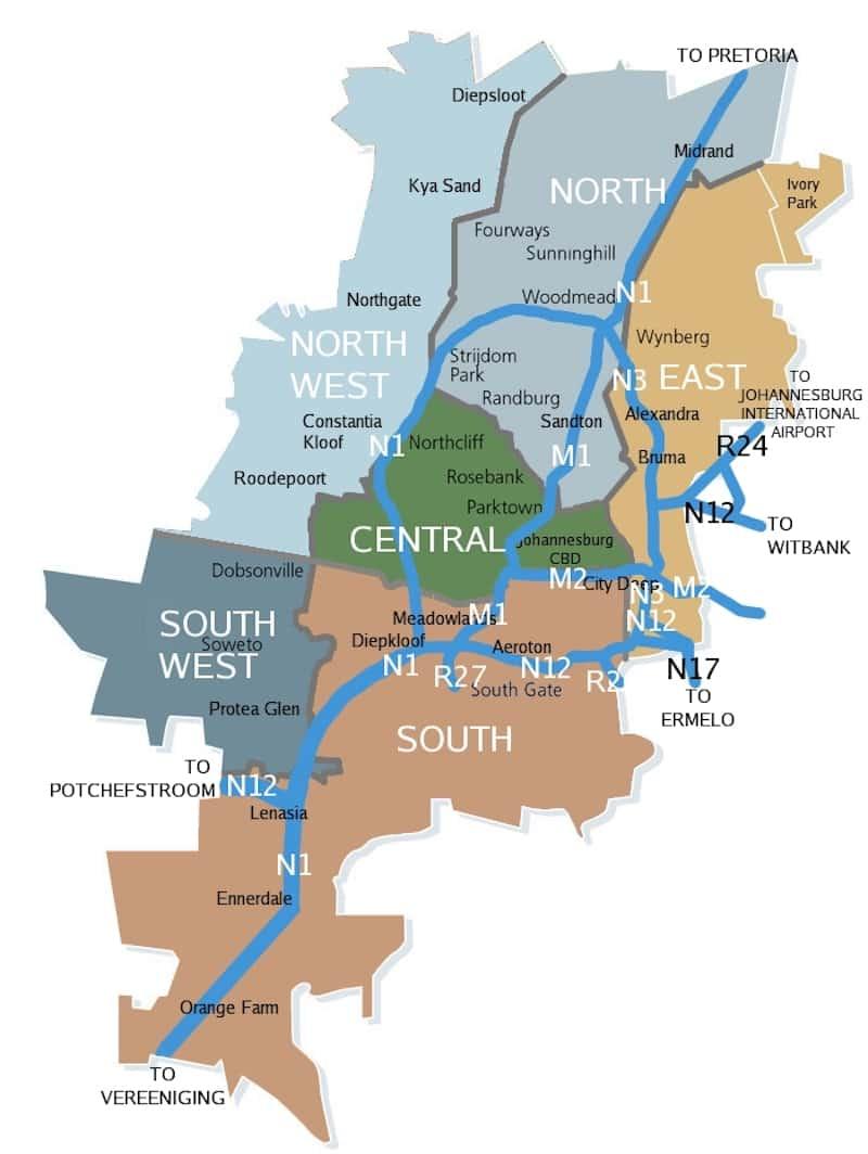 Onde Ficar em Joanesburgo na África do Sul: Mapa