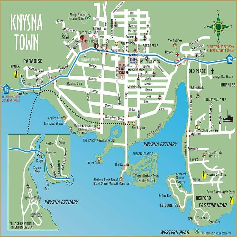 Onde Ficar em Knysna na África do Sul: Mapa