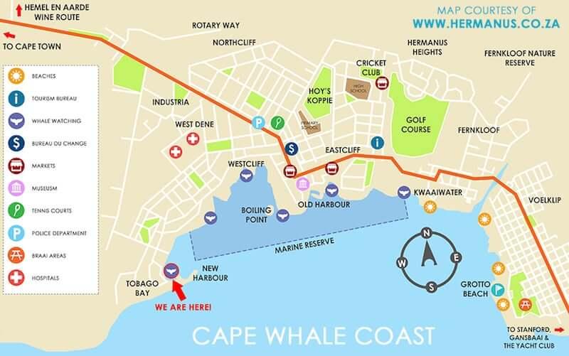 Onde Ficar em Hermanus na África do Sul: Mapa