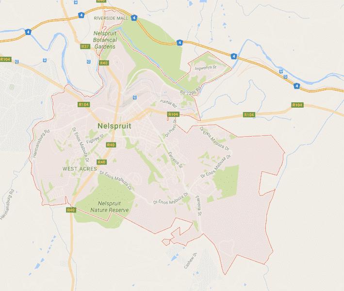 Onde Ficar em Nelspruit na África do Sul: Mapa