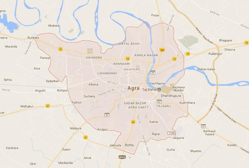 Onde Ficar em Agra na Índia: Mapa