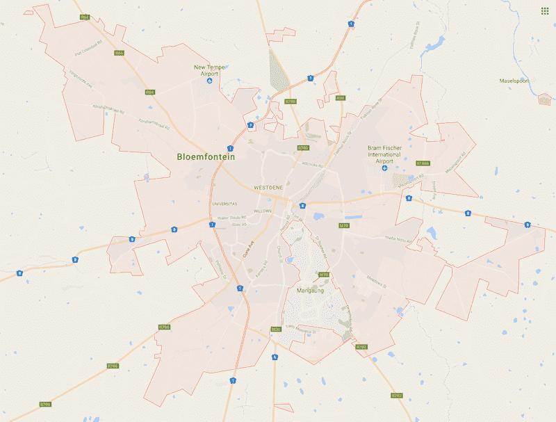 Onde Ficar em Bloemfontein na África do Sul: Mapa