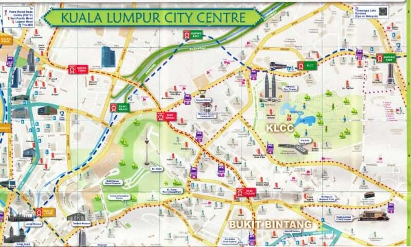 Onde Ficar em Kuala Lumpur na Malásia: Mapa
