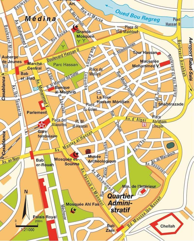 Onde Ficar em Rabat no Marrocos: Mapa