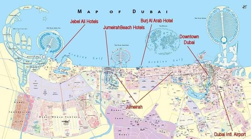 Onde Ficar em Dubai: Mapa