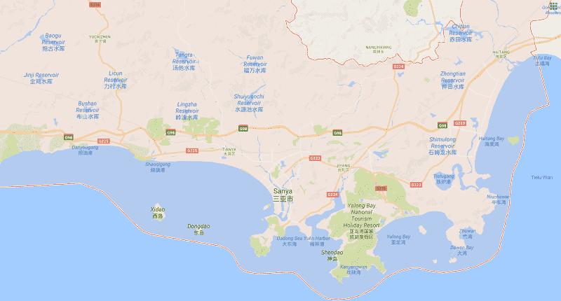 Onde Ficar em Sanya: Mapa