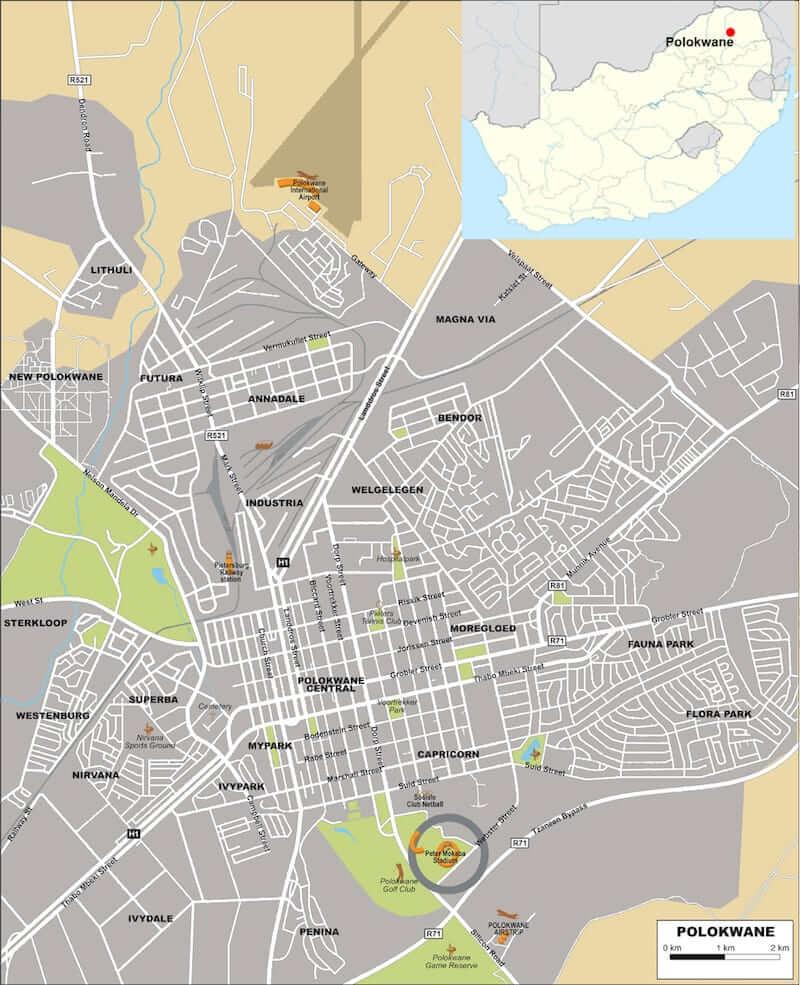 Onde Ficar em Polokwane na África do Sul: Mapa